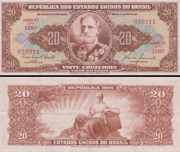 20 cruzeiros Brazília 1955-61, P160d