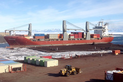 In this file photo, MV Ocean Giant arrives at the ice-pier at McMurdo Station, Antarctica, in January 2018. (U.S. Navy photo)