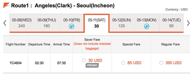 Jejuair Clark to Seoul Promo