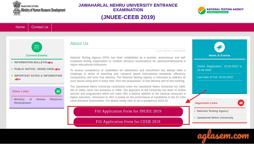 JNUEE 2019 Application Form Released Today, On 15 March; Website and Link to Apply Here