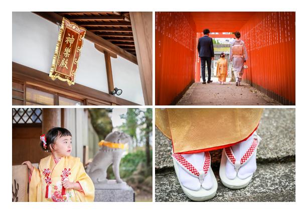 七五三 3歳の女の子 草履 神社