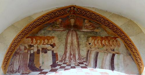 Chiesa di Santa Maria della Misericordia (XIV - XV sec.). Affresco sopra il portale, con la Madonna della Misericordia, attribuito alla scuola del Maestro Domenico del 1490/1510. Ascona (Canton Ticino, Svizzera)
