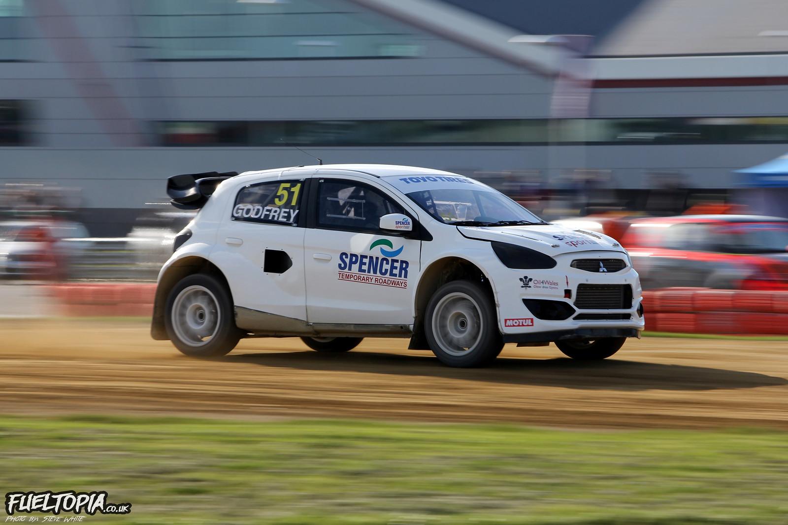 Julian Godfrey Mitsubishi Mirage Silverstone BRX British Rallycross Championship 2019 Steve White Fueltopia