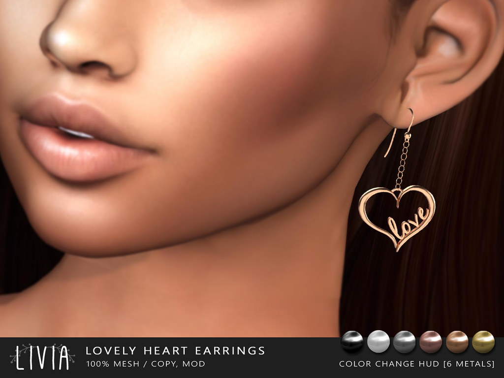 LIVIA // Lovely Heart Earrings [Group Gift] - TeleportHub.com Live!