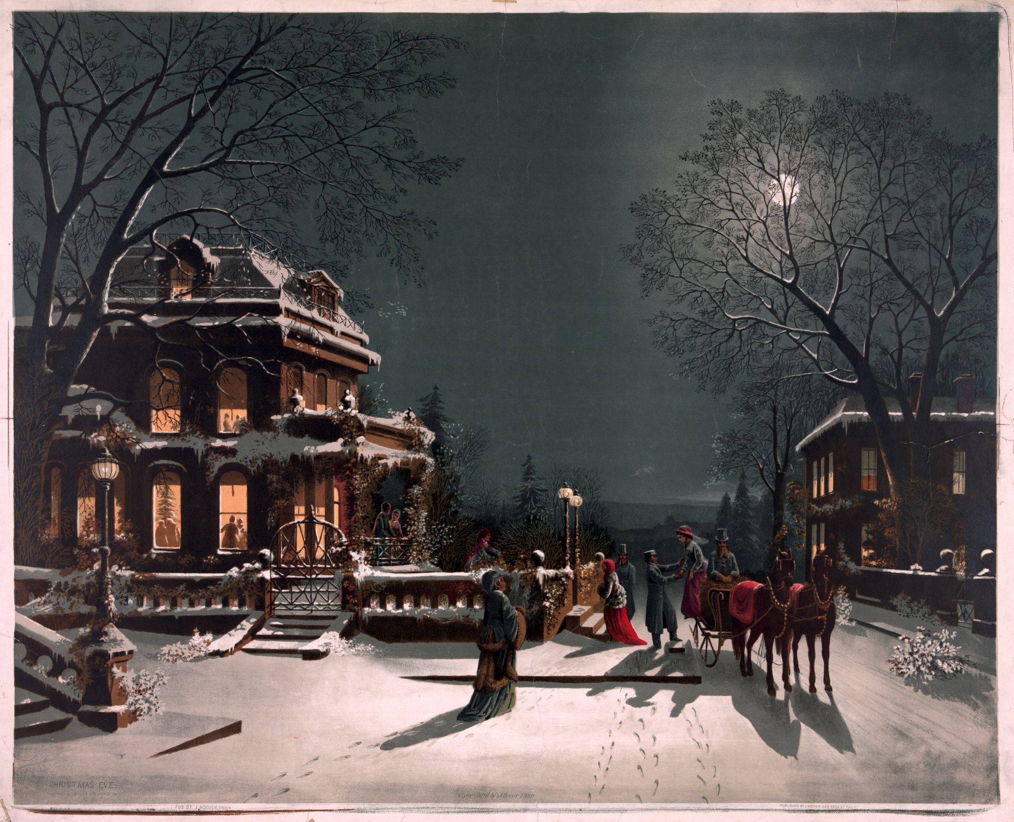 Christmas Eve published by Joseph C. Hoover & Sons, Philadelphia, Pennsylvania. Christmas card printed by chromolithography, 1880. From the collection of the Library of Congress.