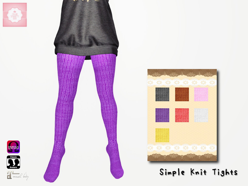 !cream spaghetti hair! Simple Knit Tights AD2