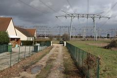 Power grid crossing the village of Saint Laurent Nouan