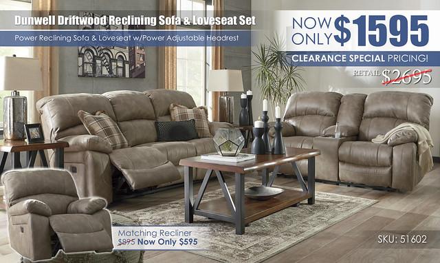 Dunwell Driftwood Reclining Set 51602_ClearanceSpecial