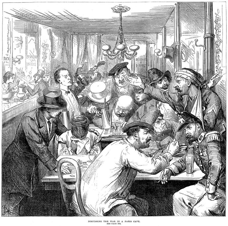 Thảo luận về cuộc chiến tại một quán cà phê ở Paris - minh họa trên tờ The Illustrated London News ngày 17-9-1870