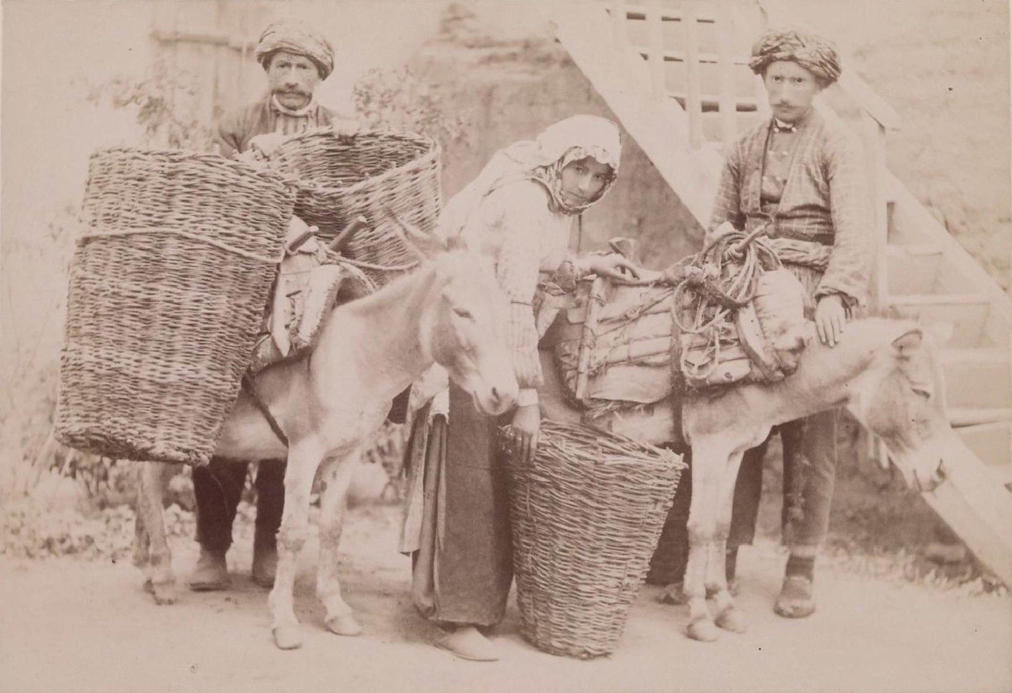 05. Карсская область. Кагызман. Турки при навьючивании корзин с фруктами
