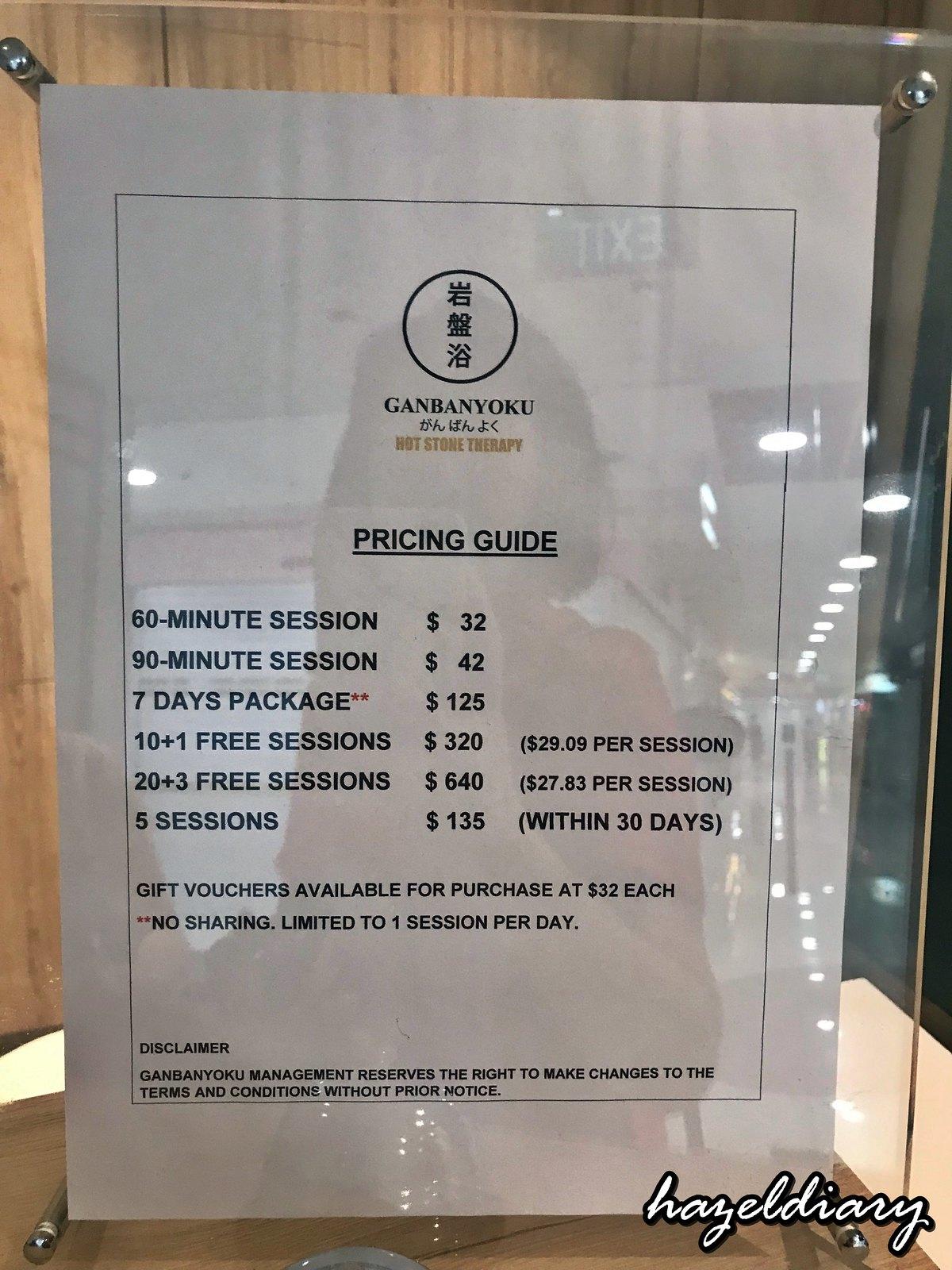Ganbanyoku Singapore-Pricing