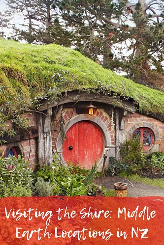 Hobbiton. Photo: Sara Orme, Tourism New Zealand, adapted by Wandering Educators. From Visiting the Shire: Middle Earth Locations in New Zealand
