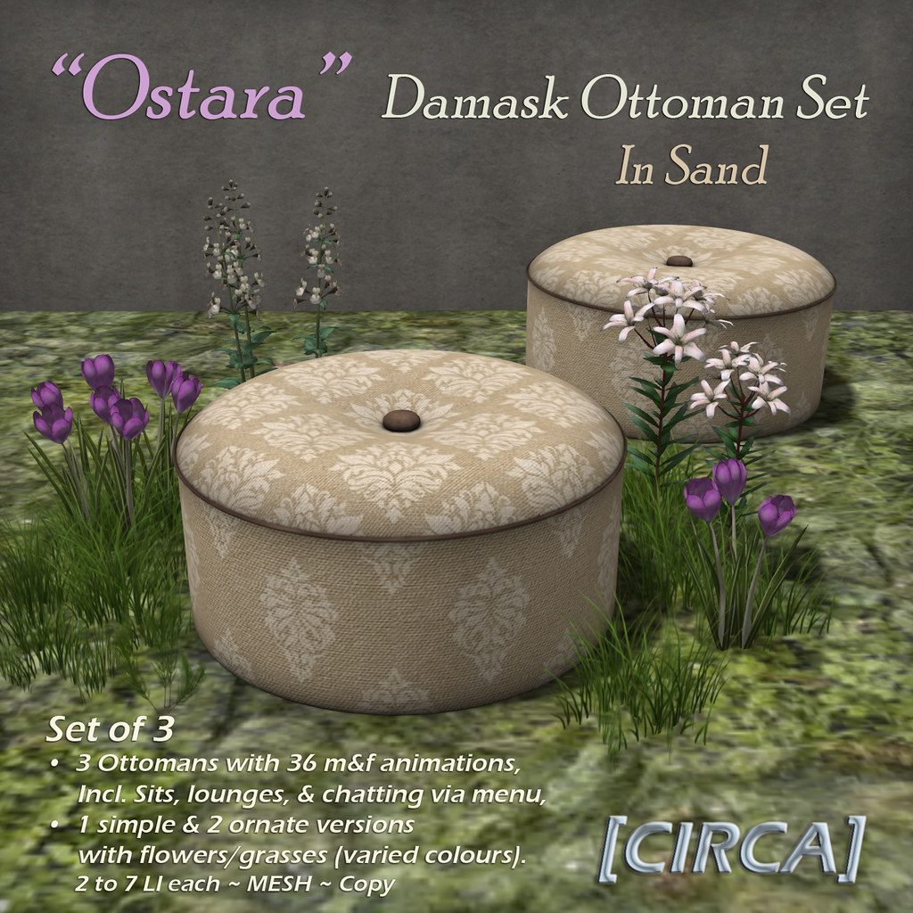 "@ Ostara's Alter Event | [CIRCA] – ""Ostara"" – Damask Ottoman Set – In Sand"