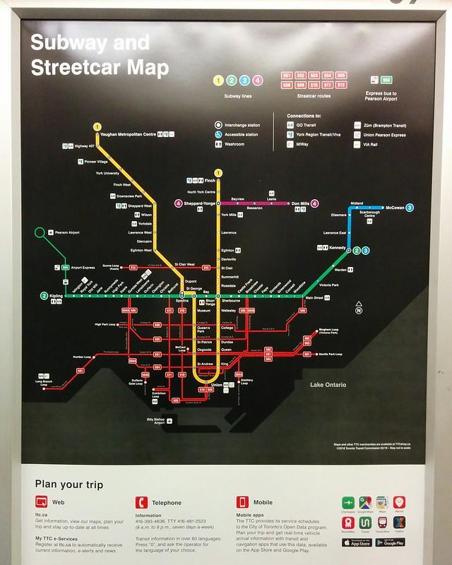 Toronto Subway Map App.Photo Map Of Toronto Subway And Streetcar Routes A Bit More Detail