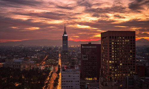 mexico mexicocity city cityscape buildings highangleview aerialview sunrise clouds