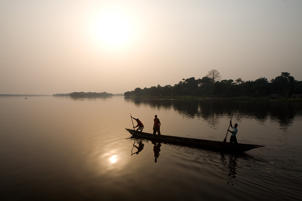The Congo River at sunset, Democratic Republic of the Congo