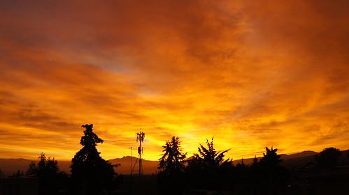 mexico city df cdmx sunrise horizon amanecer horizonte sky cielo clouds nubes orange naranja