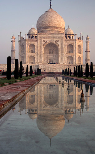 The Taj Mahal in Agra, India just after sunrise