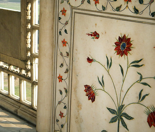 The Red Fort in Delhi. This marble inlay work is called pietra dura. Some of the stones used were agate, carnelian (red) and possibly lapis (blue).
