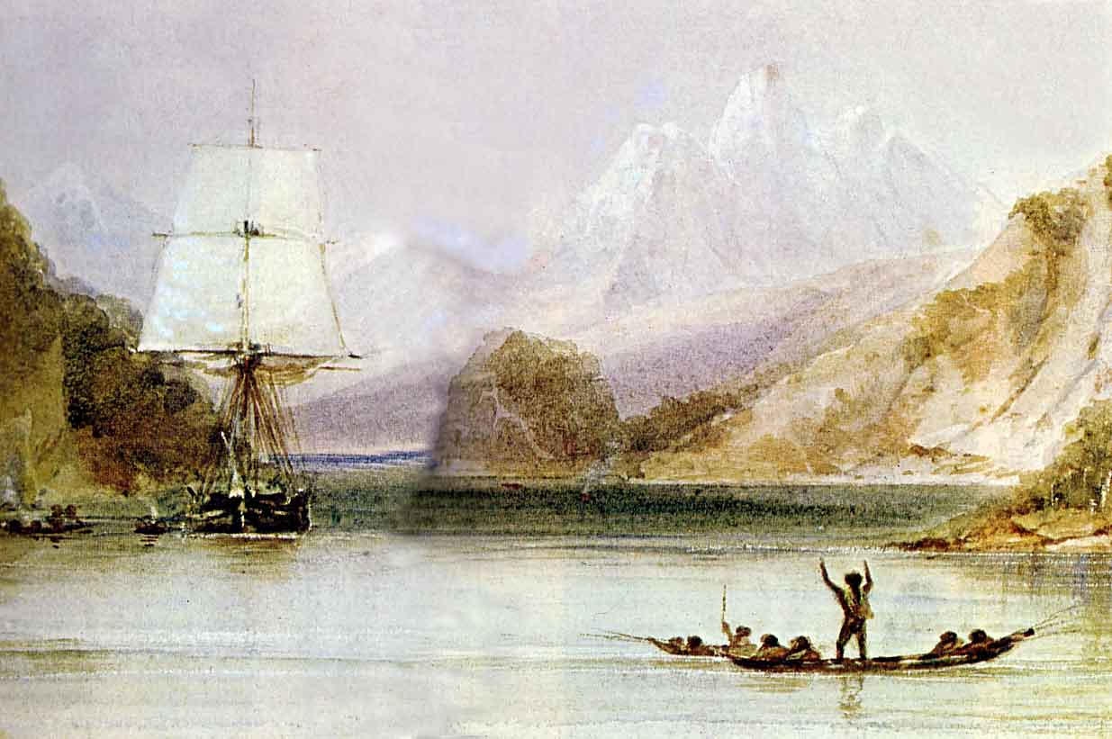 HMS Beagle in the seaways of Tierra del Fuego, painting by Conrad Martens during the voyage of the Beagle (1831-1836), from The Illustrated Origin of Species by Charles Darwin, abridged and illustrated by Richard Leakey.