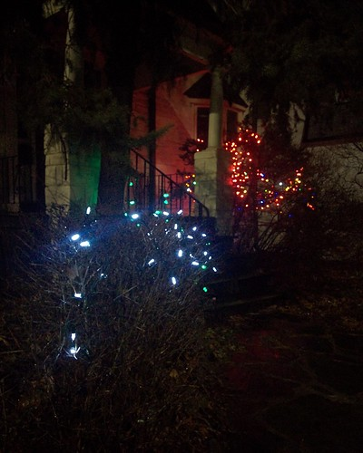 Blue, green, red #toronto #pacificave #highparknorth #christmas #decorations #lights #blue #green #red