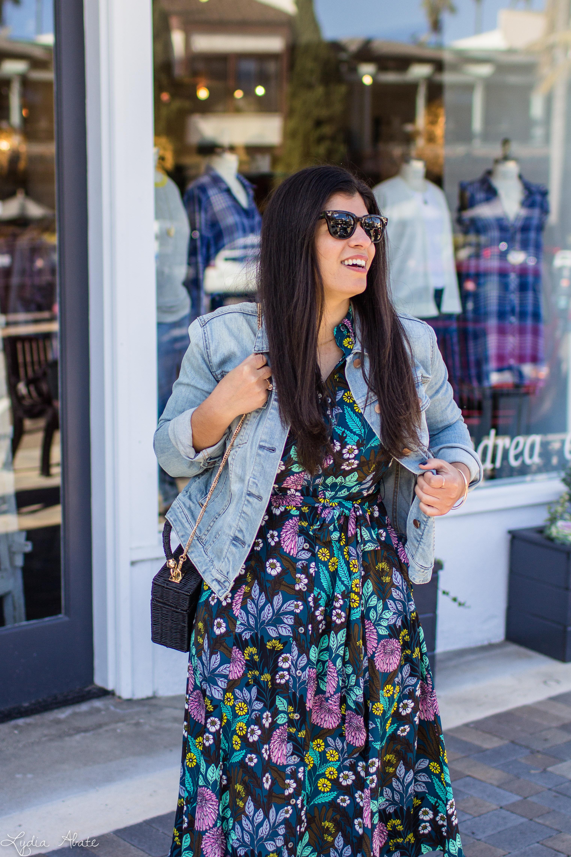 floral dress, denim jacket, black straw bag, white mules-6.jpg