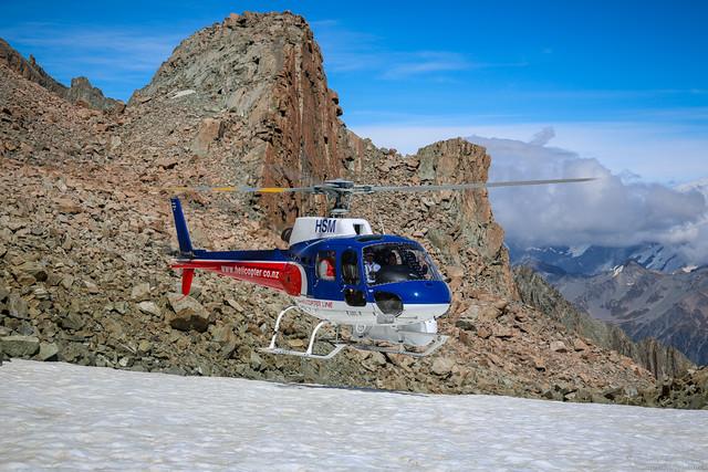 Landing on the Tasman Glacier