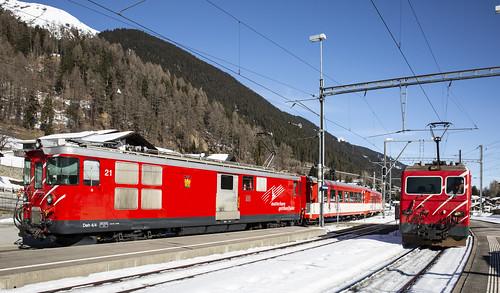 Matterhorn Gotthard Bahn MGB 21 & 108 Distentis-Mustér 17 februari 2019