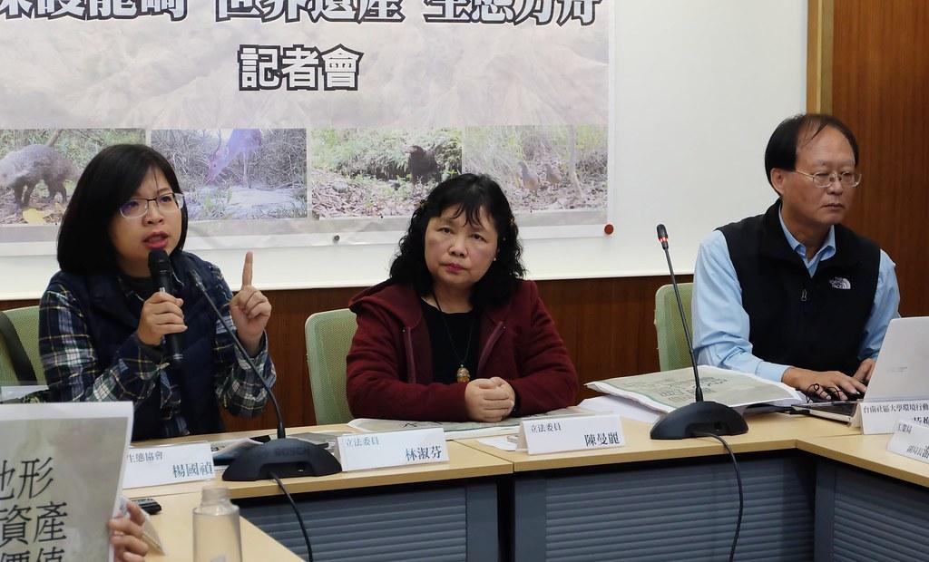 立委林淑芬、陳曼麗,與環團共同召開記者會,為維護龍崎地景發聲。