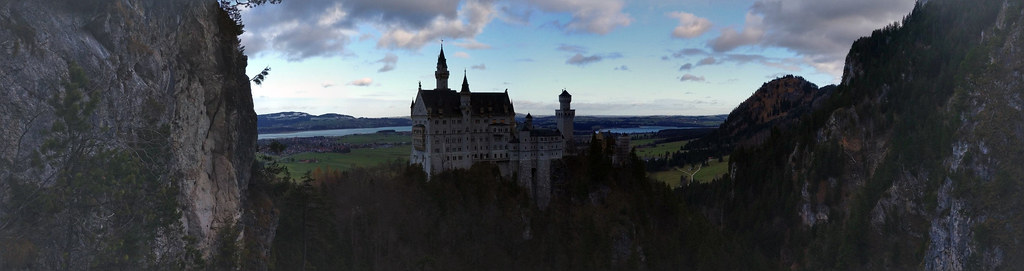 Panoramic of the Neuschwanstein Castle as seen from Marienbrücke