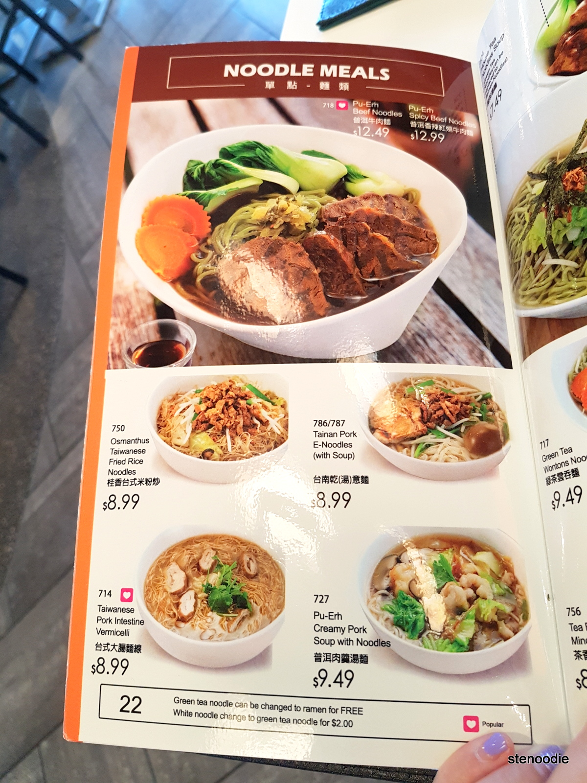 Ten Ren noodle menu