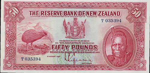 1934 reserve Bank of New Zealand 50 pounds