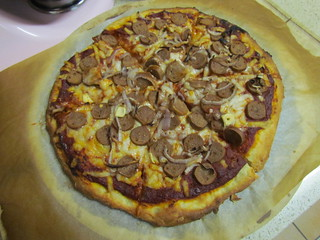 Garlic, Sausage, and Onion Pizza