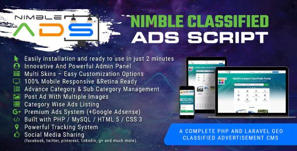 Nimble Classified Ads Script v1.19 - PHP And Laravel Geo Classified Advertisement CMS