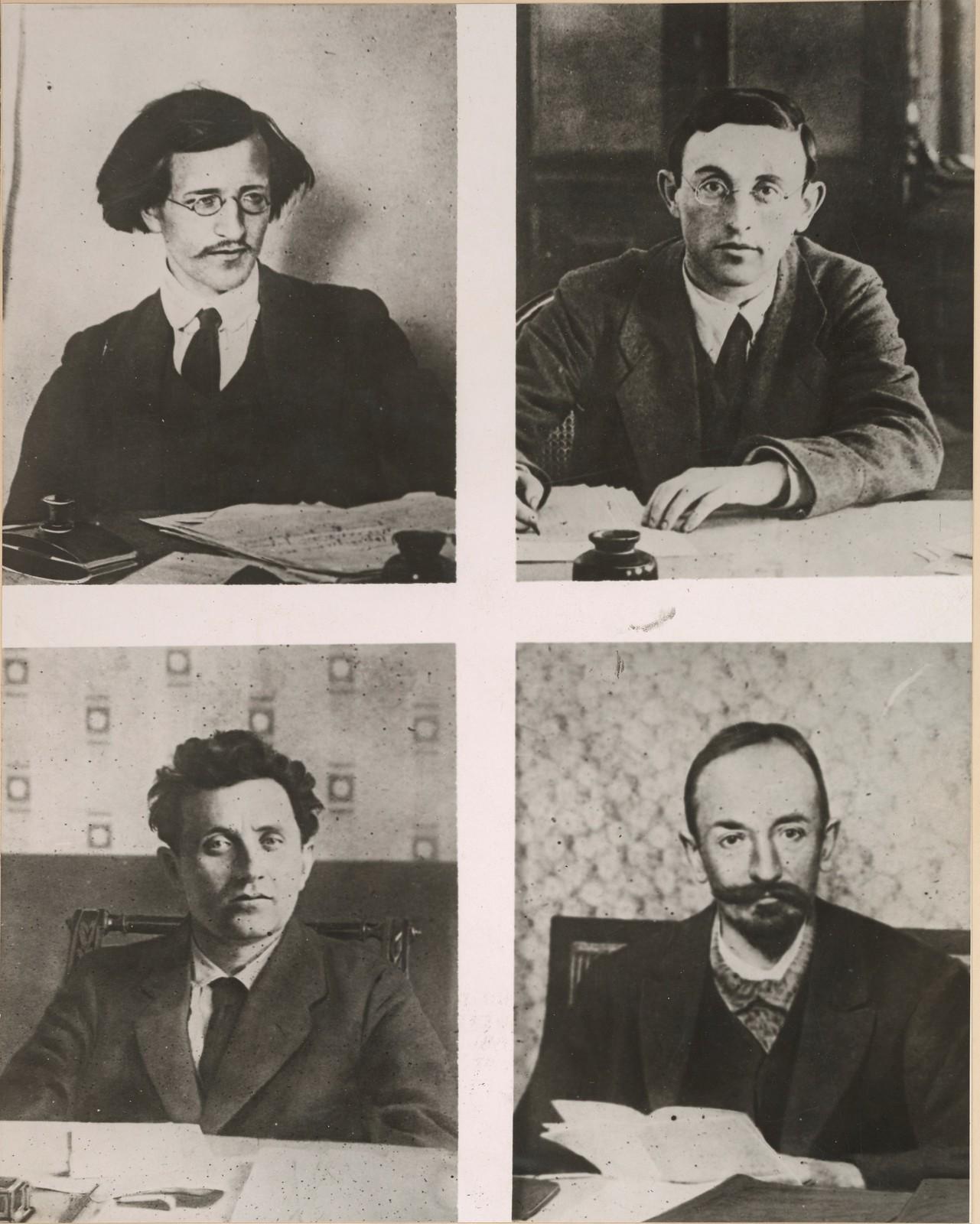 Четверо лидеров большевистского режима в России, который теперь быстро рушится под быстрым наступлением чехословацких и союзных войск