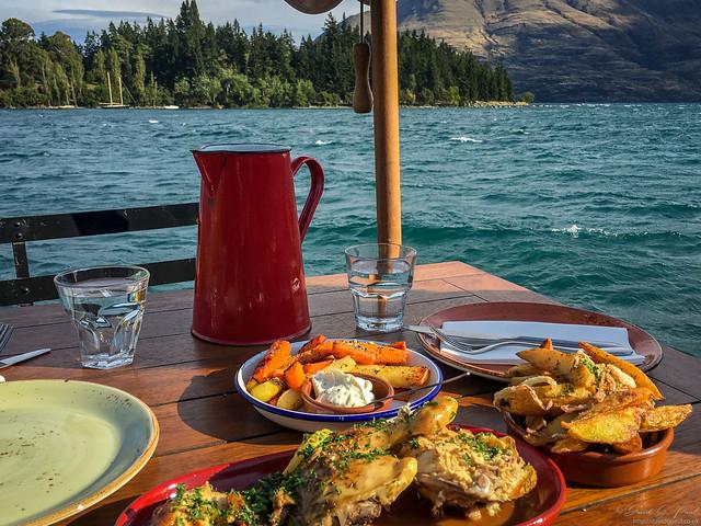 Dining next to Lake Wakatipu