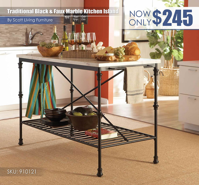 Traditional Black and Faux Marble Kitchen Island_Scott Living_910121