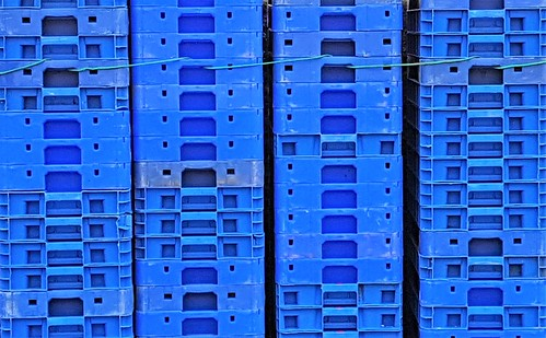 Fish Boxes - Rows of Blue