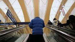 Up the escalator at Shanghai Pudong Airport