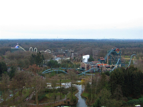 View of roller coasters in Ruigrijk from the Pagode in the Efteling