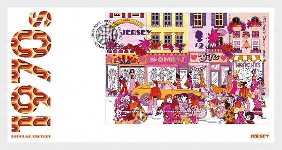 Jersey - Popular Culture: The 1970s (January 18, 2019) souvenir sheet first day cover