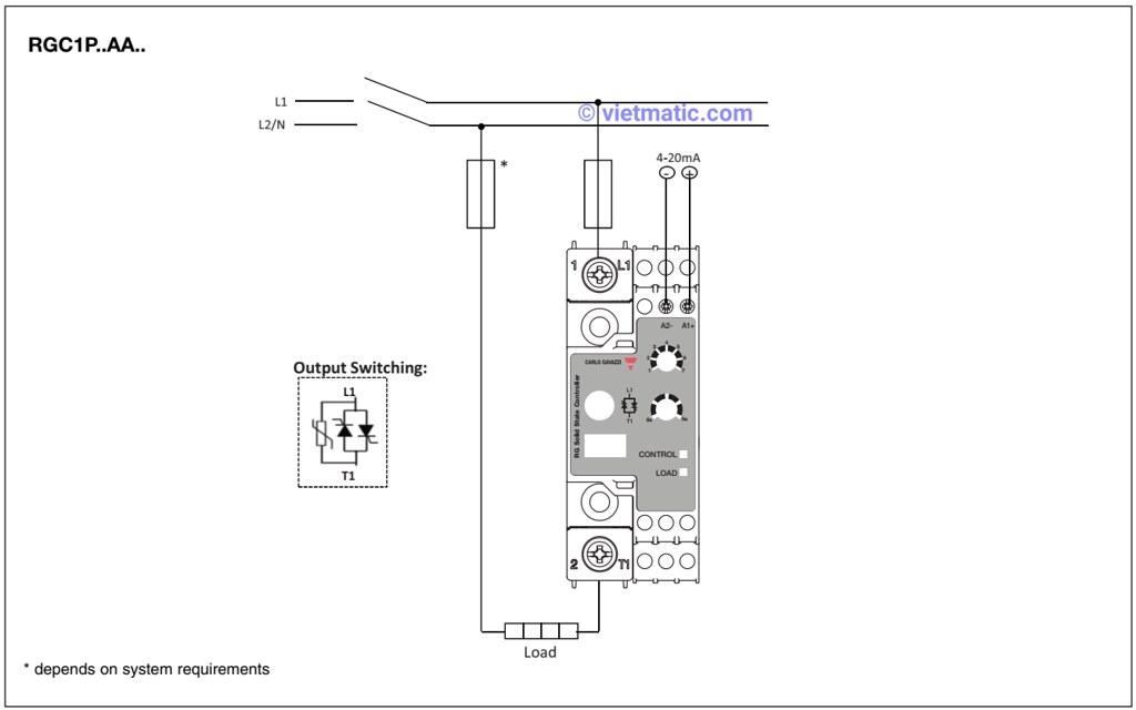 Sơ đồ đi dây đối với tín hiệu điều khiển là dòng điện