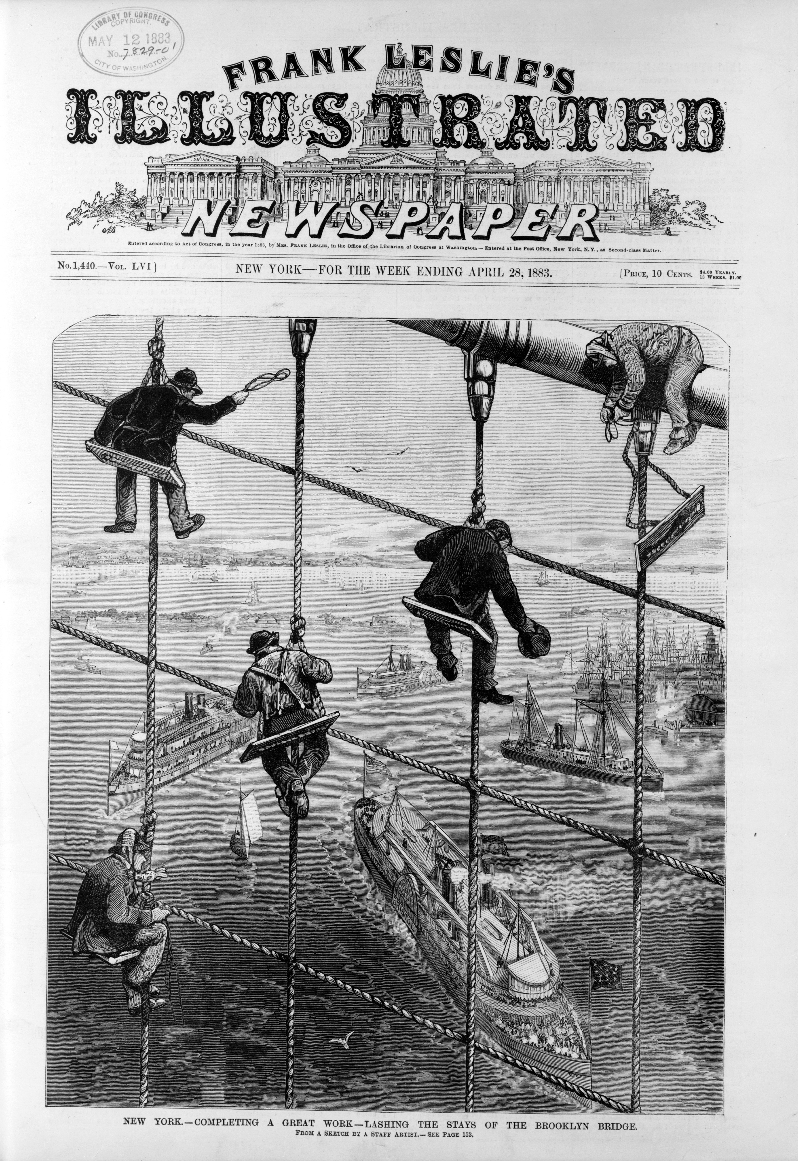 The cover of Frank Leslie's Illustrated Newspaper, April 28, 1883, announcing the following month's opening of the Brooklyn Bridge.