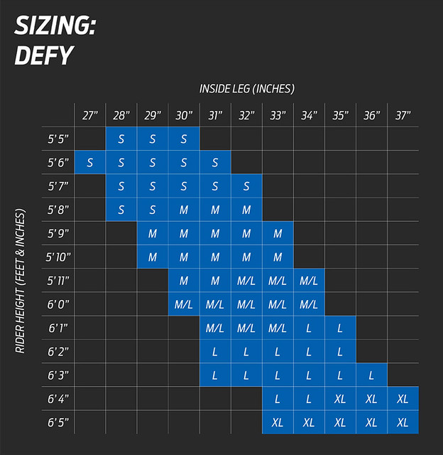 Giant Defy Size Chart