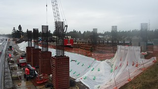 Bridge pier footings being formed for the new Berkeley Street overpass by Camp Murray