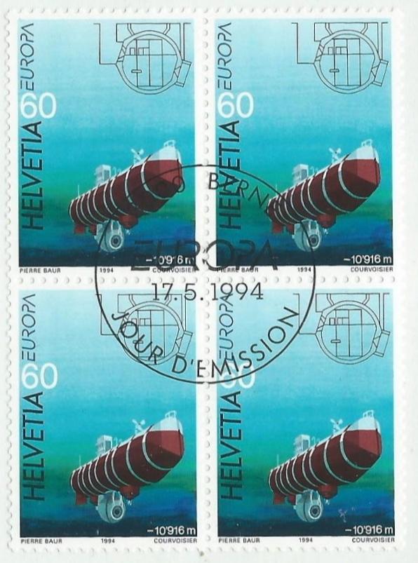 Switzerland - Scott #946 (1994) block of 4, CTO first day of issue
