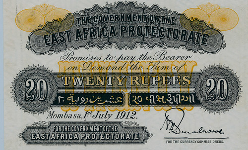 Archives Internationsl Sale 51 Lot 202. Government of the East Africa Protectorate 1912, 20 Rupees Color Trial Specimen
