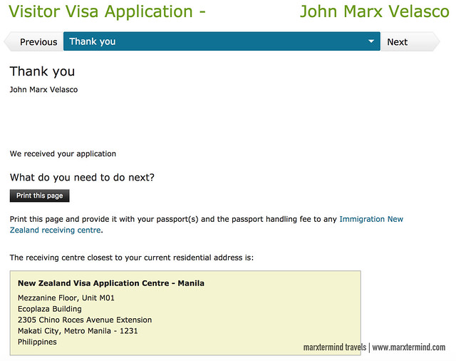 New Zealand Visitor Visa Thank You Page