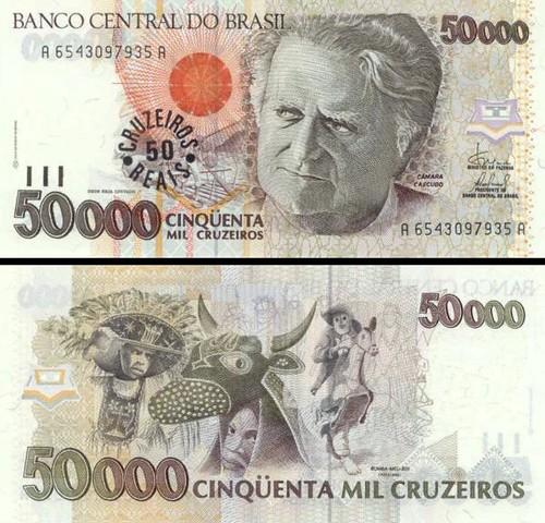 50 cruzeiros reias Brazília 1993, P237