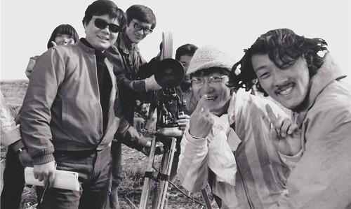 左起:吉積惠、若松孝二、赤川修也、伊東英男、秋山道男、小水一男本人,1969年撮影 ©️2018若松プロダクション